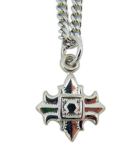 High Polished Sterling Silver Petite Fleur De Lis Cross Pendant, 5/8 Inch