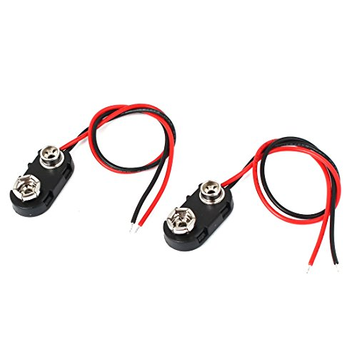 uxcell 2 Pcs 9 Volt Battery Clip Connector I Type Hard Shell Buckle Holder 15cm Lead ()