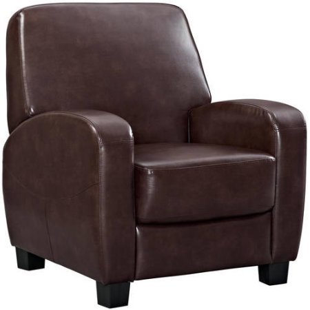 Faux leather and Steel mechanism Home Theater Push-back Recliner, Brown