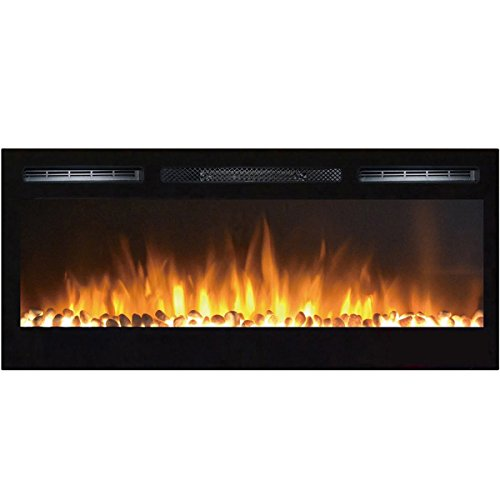 Cheap Moda Flame 35 Inch Cynergy Pebble Stone Built-In Wall Mounted Electric Fireplace Black Friday & Cyber Monday 2019