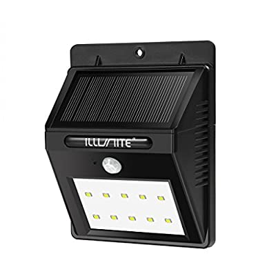 ILLUNITE Solar Light 10 Ultra Bright LEDs Motion Sensor Security Light Waterproof Unique Detachable Design with Extra Long Extension Cords for Indoor/Outdoor Use