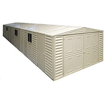 Duramax 01514 Vinyl Garage Shed with Foundation and Window, 10.5 by 28.5-Feet