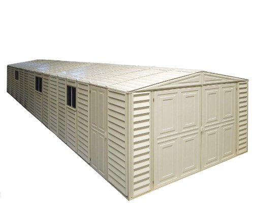 Duramax Vinyl Usa Shed - Duramax 01514 Vinyl Garage Shed with Foundation and Window, 10.5 by 28.5-Feet