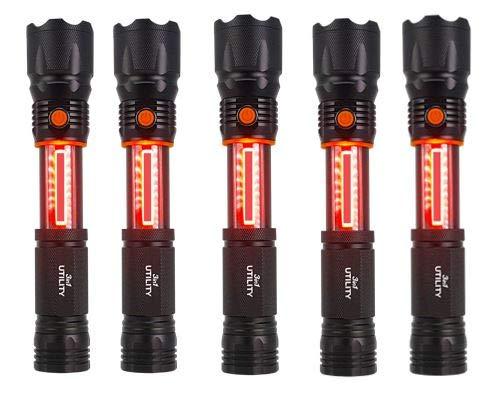 1TAC 3 In 1 Utility Light Flashlight 5 Pack, Magnetic Base 1200 Lumens With 20 X Zoom, Lantern, Emergency SOS Safety Beacon Strobe Mode Light ()