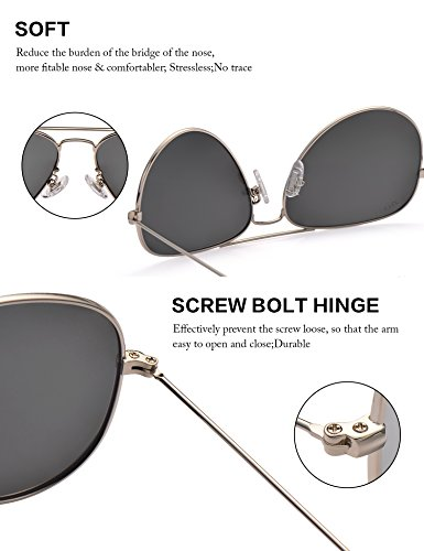 f840630f5eb LUENX Mens Womens Aviator Sunglasses Polarized Silver Mirrored Lens Metal  Frame with case UV 400 Protection