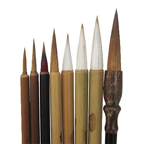 Shanlian Hubi - Juego de pinceles de caligrafía china para pintar con acuarela, 8 pinceles de pintura japonesa Kanji Sumi...