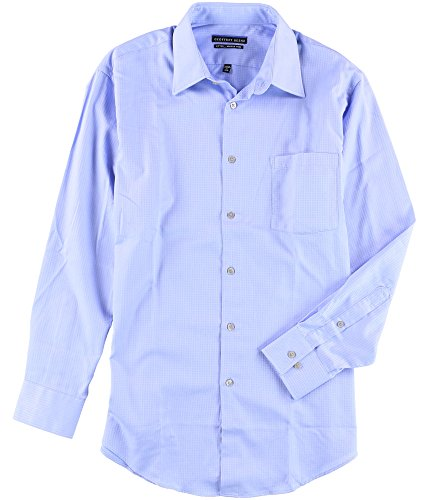 Geoffrey Beene Mens Wrinkle Free Button up Dress Shirt Blue 16