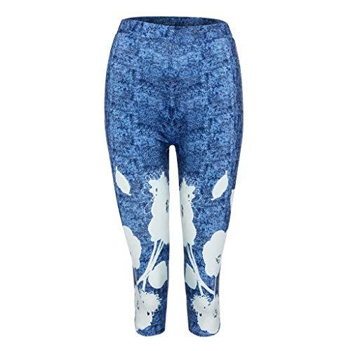 TIFENNY High Waist Yoga Shorts for Women Plus Size 3D Flower Printed Elastic Waiste Leggings Skinny Pants Knickers Blue