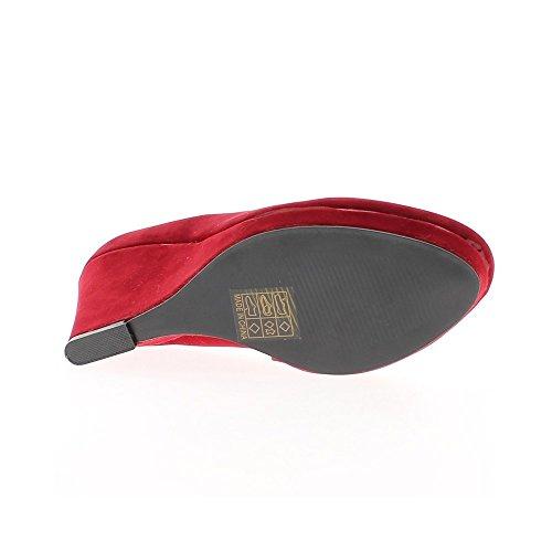 Compensées rouges aspect velours à talon de 9cm et plateau bouts ronds