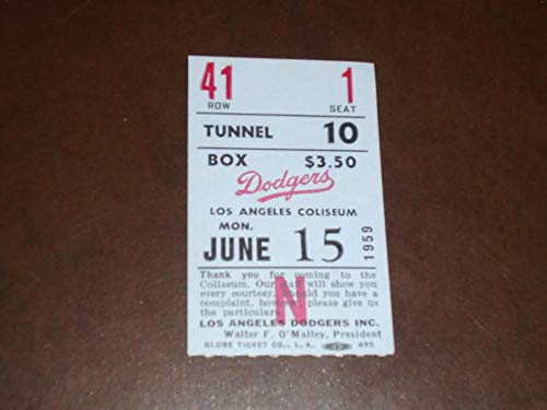 1959 LOS ANGELES DODGERS TICKET STUB VS BRAVES DODGERS WIN WALLY MOON HR