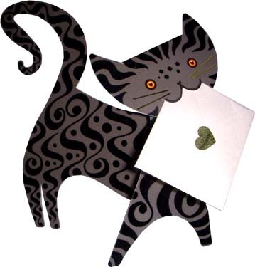 Black Cat Die Cut Special Delivery Notecards