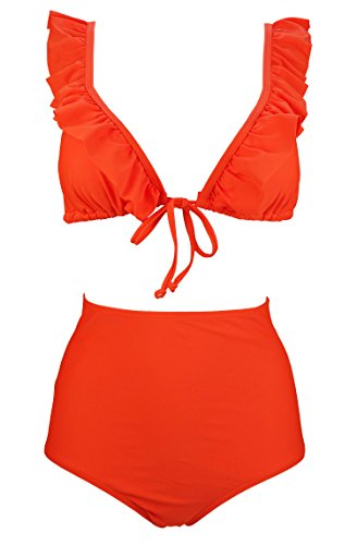COCOSHIP Orange Red Solids Smoothing High Waist Bikini Set Ruffle-Trimmed Triangle Top Stylish Swimsuit Straps Bathing Suit 14(FBA) (Bikini Ruffle Red Triangle)