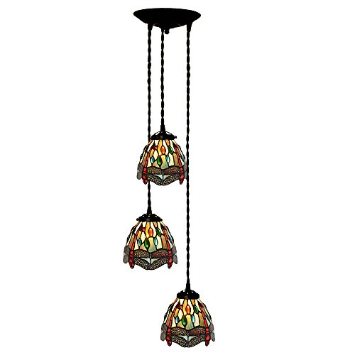 - Bieye L10088 Tiffany Style Stained Glass 7-inch Dragonfly Hanging Lamp with 3-Light Pendant