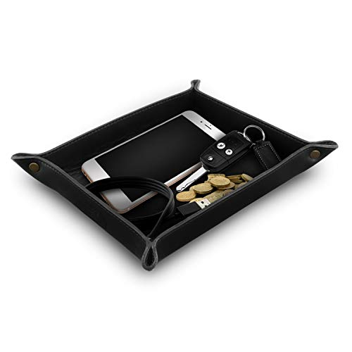- Londo - Genuine Leather Tray Organizer - Practical Storage Box for Wallets, Watches, Keys, Coins, Cell Phones and Office Equipment (Black)