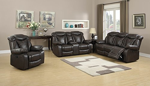 Christies Home Living Transitional 3 Seat Double Reclining Living Room Sofa, Glider Reclining Loveseat with Storage Console & Glider Reclining Chair, Covered in Brown Leather-Like Fabric, 3 Piece
