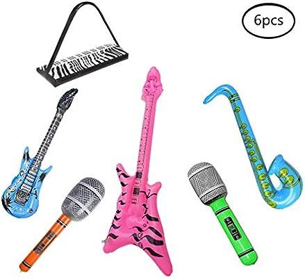 Wenosda 6pcs Inflatables Guitarra Saxofón Micrófono Beth Teclado ...