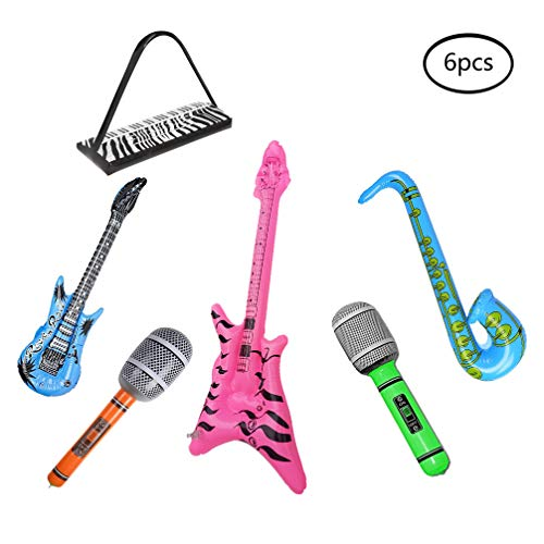 Wenosda 6pcs Inflatables Guitar Saxophone Microphone Beth Keyboard Musical Instrument Blow Up Balloon Rock Star Toys for Party Decoration Prop (Random Color)