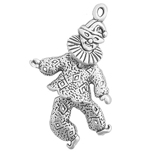925 Sterling Silver Movable Mardi Gras/Harlequin Circus Clown Pendant Charm