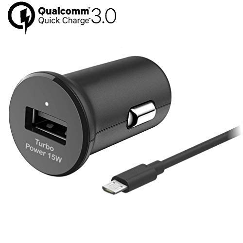 Turbo Fast 15W Car Charger Works for Motorola Moto E6 Plus Includes Detachable Hi-Power MicroUSB Cable!