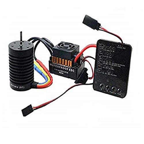 (Brushless Motor, Upgrade Waterproof 9T 4370KV Brushless Motor + 60A ESC +Program Card Combo for 1/10 RC Car Truck US (Black))