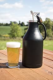 Beer City Glass Growler 64 oz Vacuum Insulated Stainless Steel BPA Free w/ Handle for Easy Pouring
