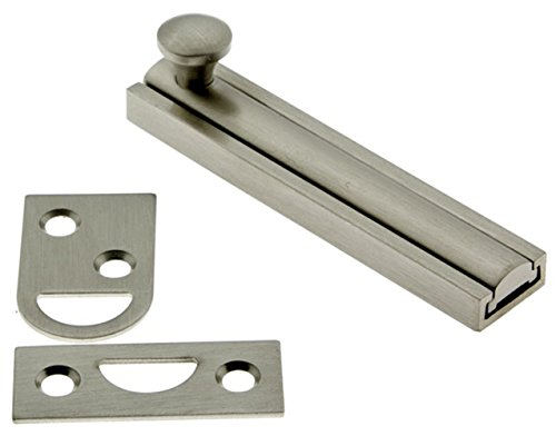 idh by St. Simons 11044-015 Professional Grade Quality Genuine Solid Brass 4 inch Surface Bolt, Satin - 4 Mortise Bolt