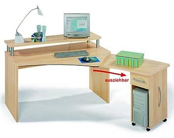 Welle Allround Pc Schreibtisch Mit Aufsatz Zum Ausziehen Ahorn Buche