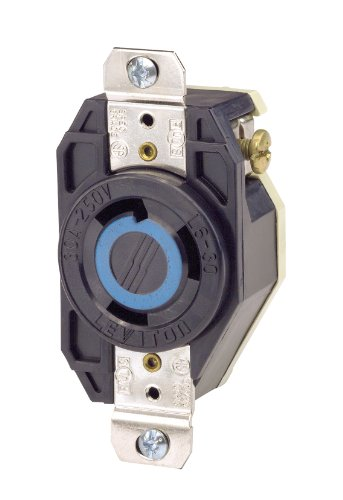 Leviton 2620 30 Amp, 250 Volt, Flush Mounting Locking Receptacle, Industrial Grade, Grounding, V-0-MAX, pack of 1, Black (Nema 6 30r Receptacle)