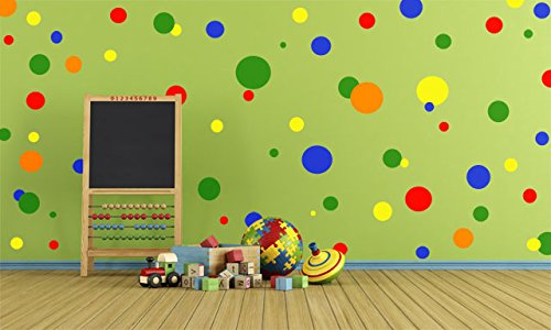Create-A-Mural (126) Polka Dot Wall Decals for Playroom ~ Vibrant Primary Colors
