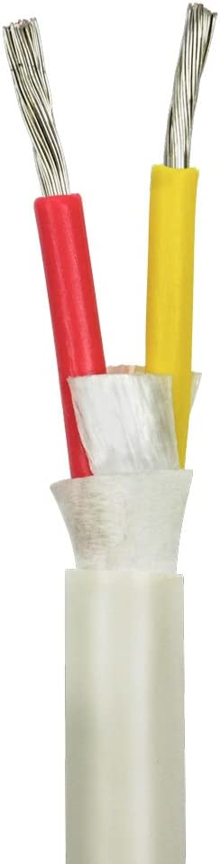 14/2 AWG Duplex Round DC Marine Wire - Tinned Copper Boat Cable - 10 Feet - White PVC Jacket, Red/Yellow Conductor - Made in The USA…