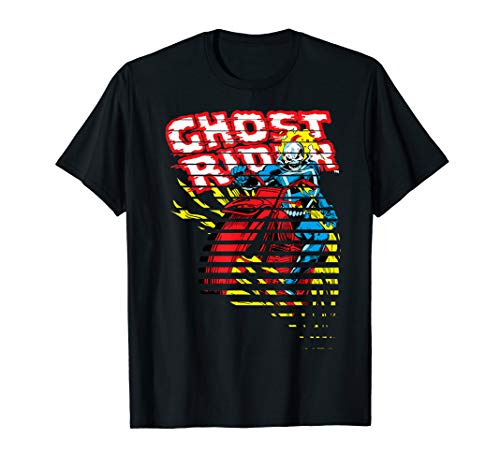 Ghost Rider Motorcyle On Fire Halftoned Split-Up T-Shirt
