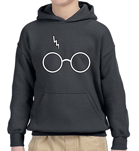 (New Way 836 - Youth Hoodie Harry Potter Glasses Scar Lightning Bolt Unisex Pullover Sweatshirt Small Charcoal)