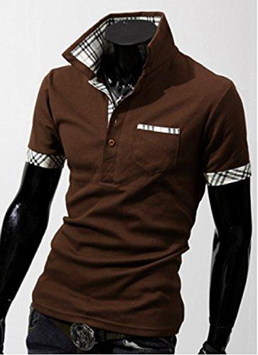 J.M.K メンズ ポロシャツ 半袖 無地 シンプル チェック 柄 コットン スリム フィット トップス スポーツ ウェア ゴルフ ウエア
