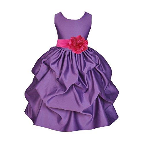 ekidsbridal Satin Pick-Up Purple Flower Girl Dresses Princess Dresses Ball Gown Birthday Girl Dresses 208T (Pickup Ball Gown)