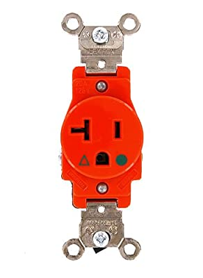 Leviton 5361-IG 20 Amp, 125 Volt, Narrow Body Single Receptacle, Straight Blade, Industrial Grade, Isolated Ground, Orange