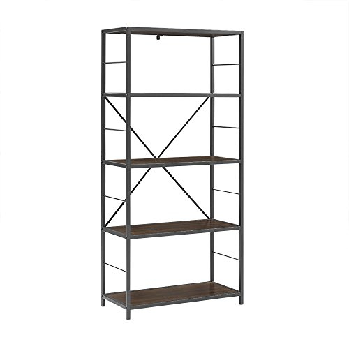 WE Furniture X-Frame Metal & Wood Media Bookshelf, 63