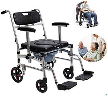 Multifunktionale zusammenlegbare Rollstuhl Dusche Klobrille verdickten KopfendeCommode Stuhl WC Roll Dusche mit Haltegriffen und Handläufen von Licht,Black