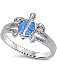 Simulated Fire Blue Opal turtle .925 Sterling Silver Ring Sizes 5-10
