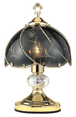 HPP Inc Black Glass Floral Touch Lamp, Brushed Gold (Floor Lamp Touch Black Chrome)