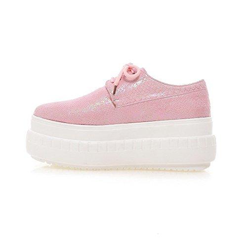 Pumput Weenfashion Ympäri Naisten kengät Pinkki Pu Suljetun Sitoa Toe Korkokengät Kiinteä FxFf86w