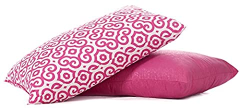 Pink Bed Pillow 2-Pack - Queen Pillows For Sleeping and Girly Bedroom Decor (Set of 2) - Comfy Fun For Girls, Teens, College Dorms and Adults - Crafted In USA