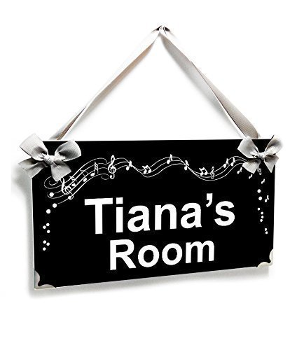 Personalized Teenager Bedroom Name Door Sign Black and White Music Notes