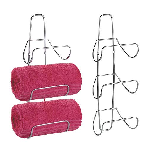 mDesign Metal Wall Mount 3 Level Bathroom Towel Rack Holder & Organizer - for Storage of Bath Towels, Washcloths, Hand Towels, Robes - 2 Pack - Chrome
