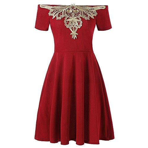 DRESSFO Fancy Applique Mini Off Shoulder Dresses for Women Sexy Off The Shoulder Dress from DRESSFO