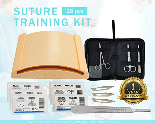 All-in-One Suture Practice Kit for Suture Training - Create Your Wounds - Including 3D Printing Silicone Suture Pad and Complete Suture Tool kit (15 Pieces) by San Draw