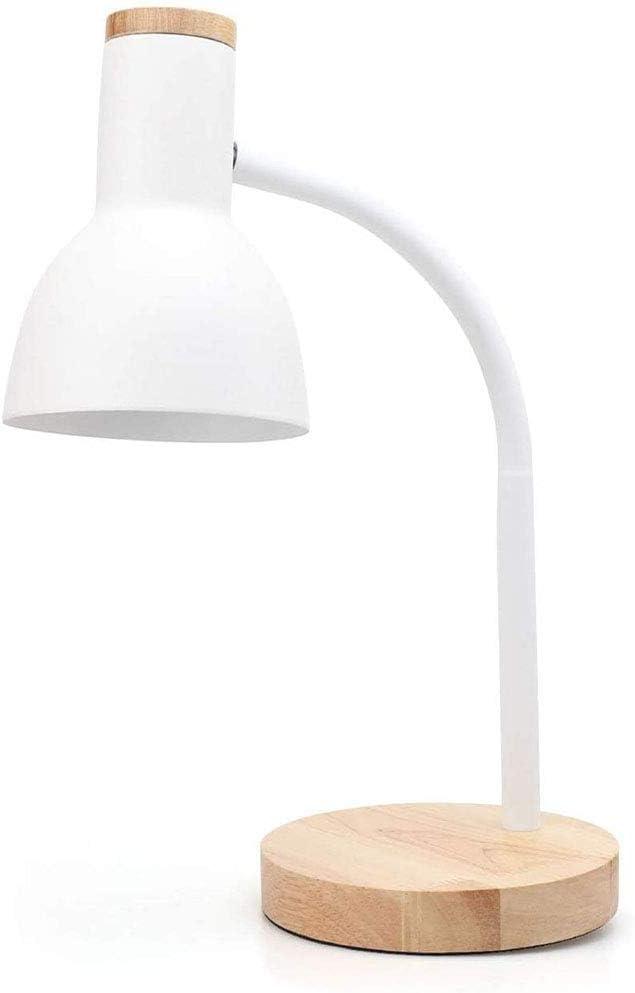 SOFIL Lámpara de Escritorio,Brazo Tipo Cuello de Cisne,Flexo LED Regulable,lámpara de Mesa Ajustable de Madera para Oficina,Sala,Estudio y Dormitorio,Blanco E27