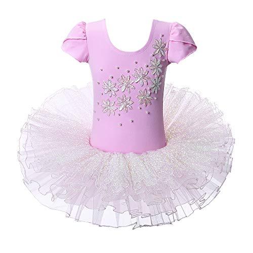 Ballet Leotard for Girls Ruffle SleeveTutu Skirted Ballerina Dance Costumes (4-5 Years(Tag No.L), Shiny -