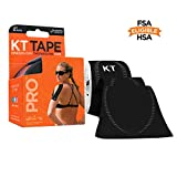 KT Tape Pro Kinesiology Therapeutic Sports Tape, 20 Precut 10 inch Strips, Jet Black, Latex Free, Water Resistance, Pro & Olympic Choice