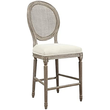 Emerald Home U3693 24 2PK K Salerno Barstool With Cream Wuph Seat And Back 24 Sand Gray Finish
