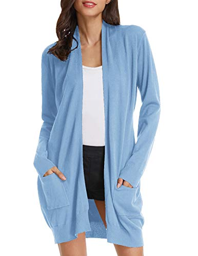 GRACE KARIN Plus Size Long Sleeve Soft Knit Cardigan Sweater (2XL,Light Blue) ()